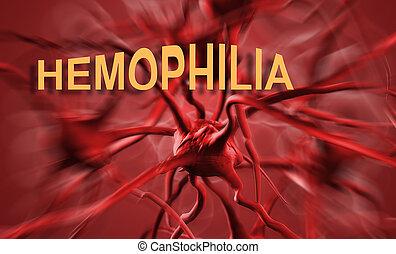 hemophilia - The word Hemophilia representing the blood...
