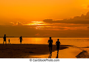 Silhouettes group of people walking ion the beach at sunset