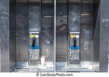 típico, Payphone, en, nuevo, York, city, ,
