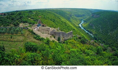 Necven fortress, aerial - Copter aerial view of the...