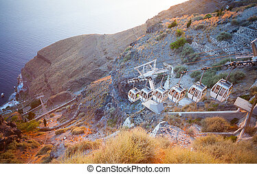 Cablecar in Fira, Santorini Greece - Mountainside cableway...