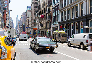 Soho street traffic in Manhattan New York City US - Soho...