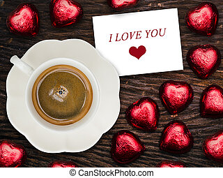 """""""I Love You"""" card with coffee and chocolate,Valentines concept"""