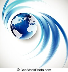 Abstract soft blue wave background with globe
