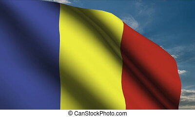 Chad Flag waving in wind with clouds in background