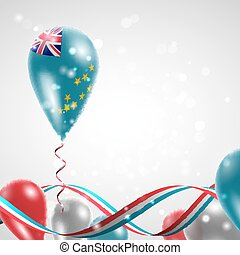 Flag of Tuvalu on balloon Celebration and gifts Ribbon in...