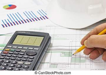 Analyzing construction progress program and calculating...