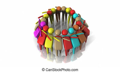 Animation of people icon in a circle - Animation of people...