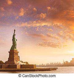 estatua, de, libertad, nuevo, York, y, Manhattan, estados...