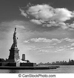 Statue of Liberty New York and Manhattan USA - Statue of...