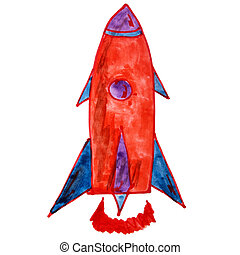 watercolor drawing kids cartoon rocket over background