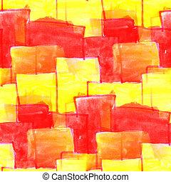 ścienny, czerwony, kwadraty, Na, à, Żółty,...