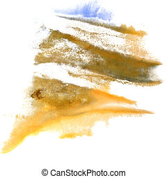 abstract Yellow, dark blue, grey drawing stroke ink watercolor b