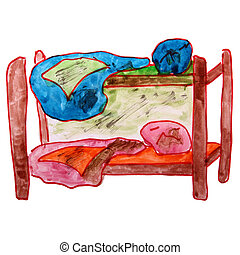 watercolor drawing children bed, bunk cartoon on a white...