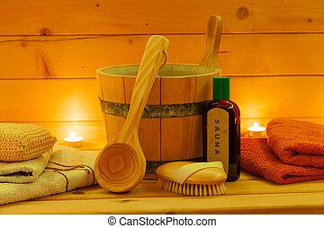 sauna interior and sauna accessories - wellness sauna