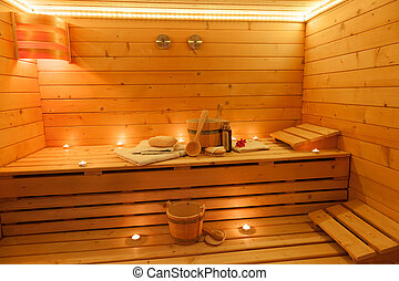 Sauna Interior - Interior of a finnish Sauna
