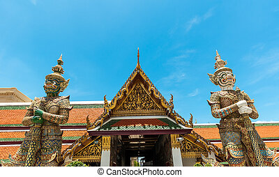 Wat phra kaew deamon guard sculpture kings palace ancient...