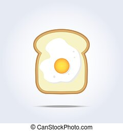 White bread toast icon with egg Vector illustration