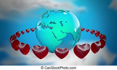 Earth with rotating hearts