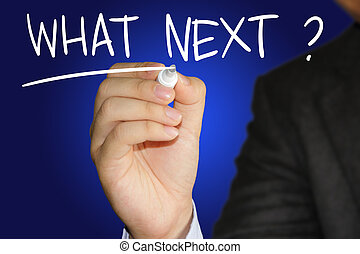 What Next - Motivational concept image of a businessman...