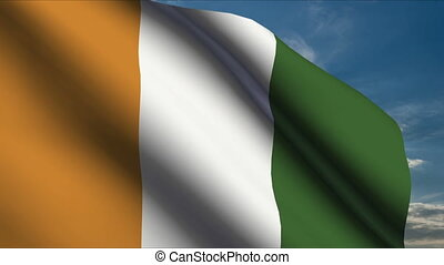 Cote dIvoire Flag waving in wind with clouds in background