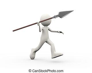 3d man running with spear - 3d illustration of man running...