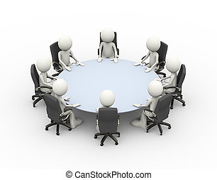 3d people business meeting conference table - 3d...