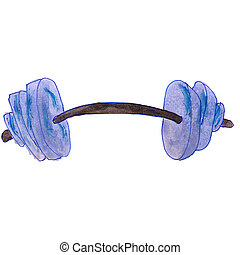 drawing cartoon kids watercolor barbell on white background...