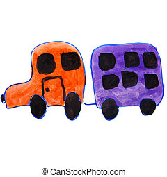 drawing kids watercolor car, trailer cartoon on a white...