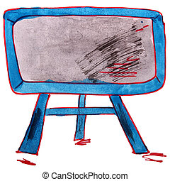 drawing children watercolor television, cartoon blue on a...