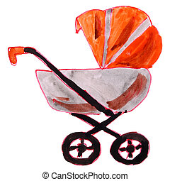 drawing cartoon a children watercolor stroller on white -...