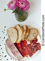 Cold meat and bread - Cold meat, pate, sausage, ham and...