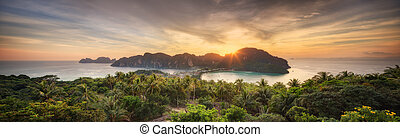 Travel vacation background - Tropical island at sunset with...