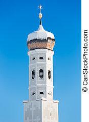 Bell tower of Bavarian Church, German Alps