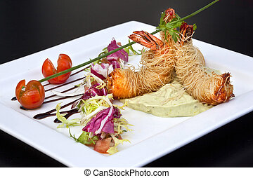 Shrimp salad - Fried shrimp, Chinese vermicelli, guacamole...