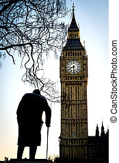 Big Ben and Sir Winston Churchill at Westminster in London -...