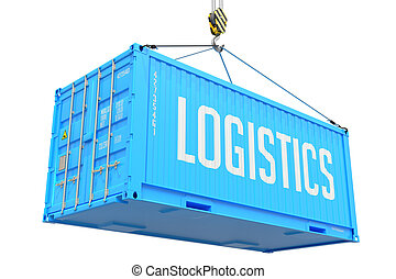 Logistics - Blue Hanging Cargo Container. - Logistics - Blue...
