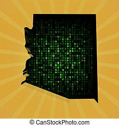Arizona sunburst map with hex code illustration
