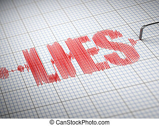 Concept of lies Lie detector with text 3d
