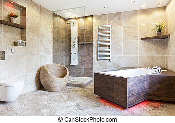 Interior of expensive and brown bathroom