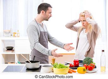 恋人, 料理, 若い, 間, 魅力的, 口論しなさい, 持つこと