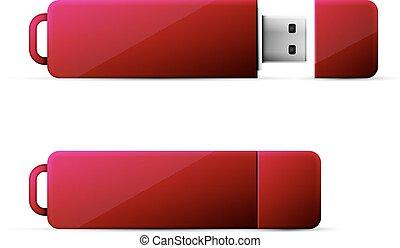 red usb flash drive