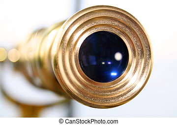 Antique telescope - Close up shot of telescope viewing lens