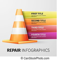 repair infographics - Vector illustration of traffic cone,...