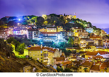 Lisbon, Portugal cityscape and hillside of Sao Jorge Castle