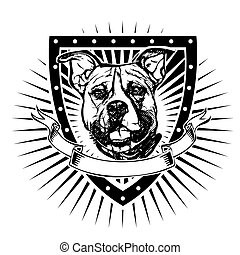 pit bull shield - pit bull illustration on shield