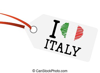 hangtag with text quot; I LOVE ITALY quot; - hangtag with...