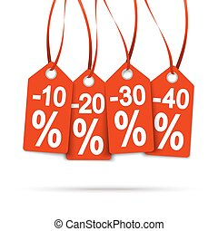 Four red hangtags with discounts