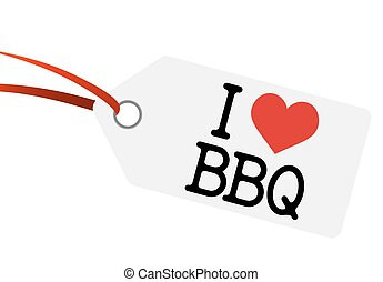 "hangtag with text "" I LOVE BBQ """