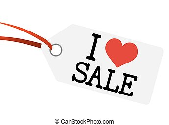 "hangtag with text "" I LOVE SALE """